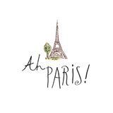 Ah Paris I on White Posters by Pela Studio
