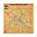 Paris Metro Map - Orange Giclee Print by Bill Cannon