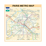 Paris Metro Map - Peach Giclee Print by Bill Cannon