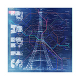 PARIS- Blue Giclee Print by Bill Cannon