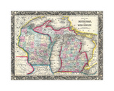 County map of Michigan and Wis Giclee Print by Dan Sproul