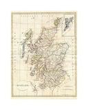 Map of Scotland Reproduction procédé giclée par Dan Sproul