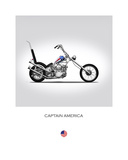 Harley Davidson Captain Americ Giclee Print by Mark Rogan