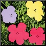 Flowers, c.1970 (1 purple, 1 yellow, 2 pink) Druck aufgezogen auf Holzplatte von Andy Warhol