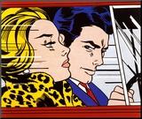 In the Car, c.1963 Monteret tryk af Roy Lichtenstein