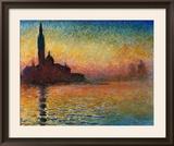 Solnedgang i Venezia Poster av Claude Monet