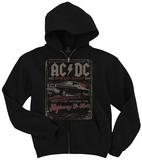 Zip Hoodie: AC/DC- Distressed Speed Shop Stamp Sweat à capuche avec fermeture à glissière