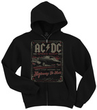 Zip Hoodie: AC/DC- Distressed Speed Shop Stamp Huvtröja med dragkedja