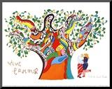 Es lebe die Liebe Druck aufgezogen auf Holzplatte von Niki De Saint Phalle