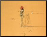Female Figure with Head of Flowers, 1937 Montert trykk av Salvador Dalí