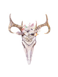 Watercolor Bohemian Deer Skull. Western Mammals. Watercolour Boho Decoration Print Antlers with Flo Prints by  Kris_art