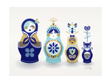 Blue and Gold Russian Dolls Giclee Print by Cat Coquillette