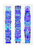 Blue Tiki Totems Giclee Print by Cat Coquillette