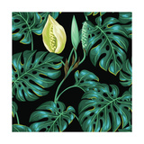 Seamless Pattern with Monstera Leaves. Decorative Image of Tropical Foliage and Flower. Background Prints by  incomible