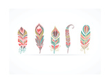 Hand Drawn Bohemian, Tribal, Ethnic Feathers. Colorful Set Giclee-tryk i høj kvalitet af  Marish