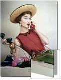 Vogue - April 1953 - Juggling Phone Calls Art Print by Erwin Blumenfeld