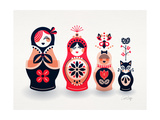 Pink and Navy Russian Dolls Giclee Print by Cat Coquillette