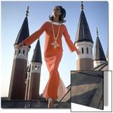 Vogue - December 1966 - Orange Christian Dior Dress Wall Art by Henry Clarke