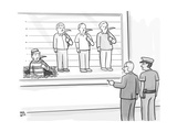 One prisoner in police lineup has dug a hole. - New Yorker Cartoon Premium Giclee Print by Paul Noth