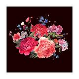 Gentle Decoration Vintage Floral Greeting Card with Blooming Red Peonies Bird and Wild Flowers Wate Posters by Varvara Kurakina