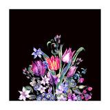Watercolor Floral Spring Greeting Card, Vintage Flowers Bouquet, Purple Tulips, Wildflowers, Strawb Poster by Varvara Kurakina