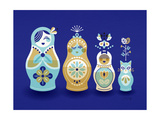 Navy Russian Dolls Giclee Print by Cat Coquillette