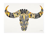 Black and Yellow Water Buffalo Skull Giclee Print by Cat Coquillette