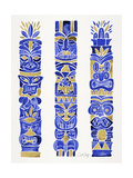 Navy and Gold Tiki Totems Giclee Print by Cat Coquillette