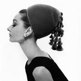 Vogue - August 1964 - Audrey Hepburn in Velvet Hat Metal Print by Cecil Beaton