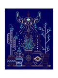 Navy Santa Fe Garden Giclee Print by Cat Coquillette