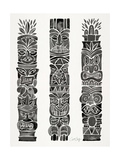Black Tiki Totems Giclee Print by Cat Coquillette