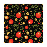 Red Currant Floral Pattern in Khokhloma Style. Vector Seamless Pattern for Wrapping Paper or Fabric Posters by  xenbuddism
