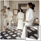 Vogue - March 1968 - Valentino Long White Evening Suits Wall Art by Henry Clarke