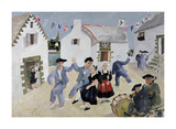 Dancing Sailors, Brittany, France Premium Giclee Print by Christopher Wood