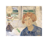 Girl and Lamp in a Cornish Window Premium Giclee Print by Christopher Wood