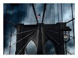 Stars and Stripes on Brooklyn Bridge Poster by Thomas Juul