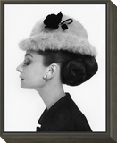 Vogue - August 1964 - Audrey Hepburn in Fur Hat Framed Print Mount by Cecil Beaton