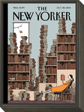Fall Library - The New Yorker Cover, October 20, 2014 Framed Print Mount by Tom Gauld