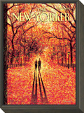 Autumn in Central Park - The New Yorker Cover, November 9, 2009 Framed Print Mount by Eric Drooker