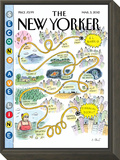 Second Avenue Line - The New Yorker Cover, March 5, 2012 Framed Print Mount by Roz Chast