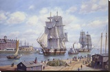 """Clipper """"Reindeer"""" Old Boston Stretched Canvas Print by Roy Cross"""