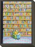 Shelved - The New Yorker Cover, October 18, 2010 Framed Print Mount by Roz Chast