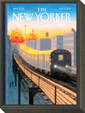Coney Island Express - The New Yorker Cover, September 5, 2011 Framed Print Mount by Eric Drooker