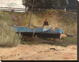 Boat on beach, Queenscliff Stretched Canvas Print by Tom Roberts