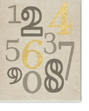 Numbers Neutrals with Gold Typography Wall Plaque Art Wood Sign