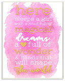 Here Sleeps a Girl Pink and Gold Typography Wall Plaque Art Wood Sign
