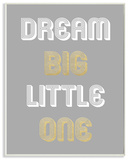 Dream Big Little One Grey Gold White Graphic Wall Plaque Art Wood Sign