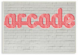 Arcade Graphic Sign on Brick Background Wall Plaque Art Wood Sign