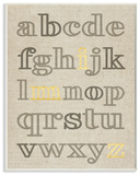 Alphabet Neutrals with Gold Typography Wall Plaque Art Wood Sign