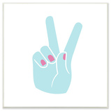 Peace Hand Teal with Pink Nail Polish Wall Plaque Art Wood Sign